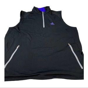 Adidas Men's Climaheat Black Golf Athletic  quarter zip vest jacket Size Large
